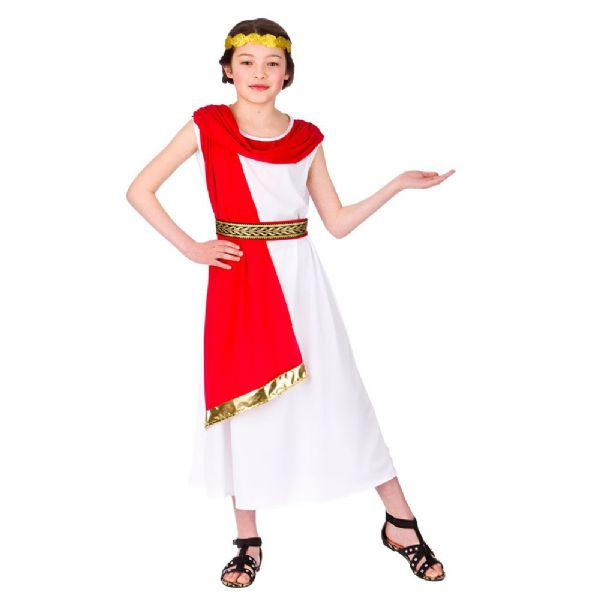 Childrens Girls Roman Princess Costume for Ancient Rome Greek Latin Fancy Dress